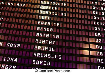 Schedule of flights at the airport