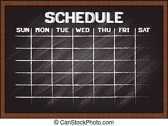 Schedule on chalkboard