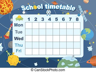 Schedule. school timetable on theme of space and Galaxy. Vetkor illustration. Days of week. Timetable of lessons for students