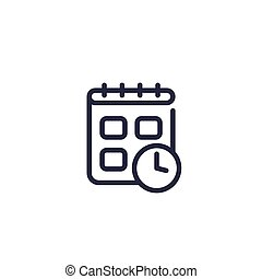 Schedule vector line icon on white