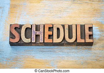 schedule word in wood type