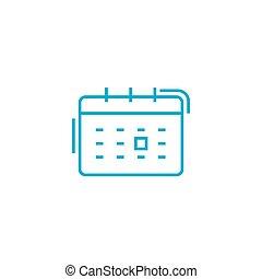 scheduling, händelsen, linjär, ikon, concept., scheduling, händelsen, fodra, vektor, underteckna, symbol, illustration.