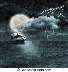 scheepje, in, storm, avond, op, oceaan, en, de maan