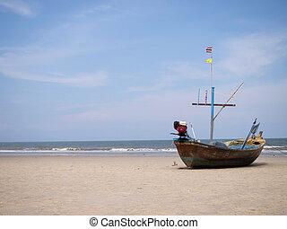 scheepje, op het strand