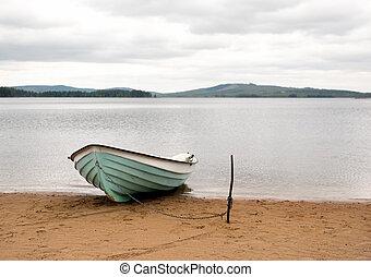 scheepje, op, zandig strand