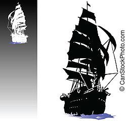 scheepje, van, piraten, vector, illustratie