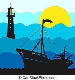 scheepje, vuurtoren, visserij, illustratie