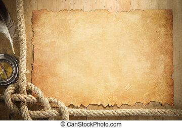 scheeps , kabels, en, kompas, op, perkament, oud, papier