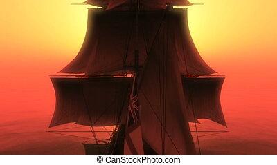 scheeps , ondergaande zon