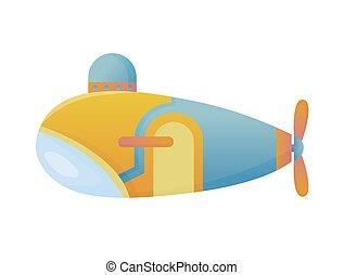scheeps , onderzees, ontdekkingsreis, zee, duikboot, duiken, gele, stijl, blauwe , vector, plat, bodem, design., onderwater, bathyscaphe, spotprent
