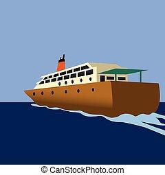 scheeps , ontwerp, illustratie, cruise