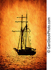 scheeps , sailer, image., retro-stylized