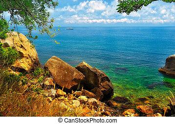 scheeps , seashore, horizon, schilderachtig
