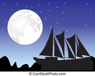 scheeps , silhouette, maan