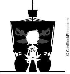 scheeps , silhouette, zeerover
