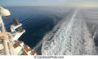 scheeps , spoor, op, zee, hoogste mening, van, dek, van, kruiser