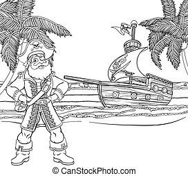 scheeps , spotprent, achtergrond, zeerover, kleuren, kapitein