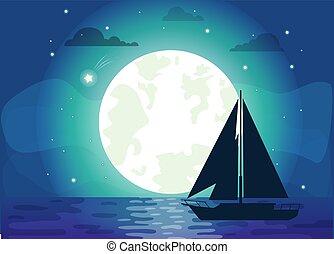 scheeps , vector, silhouette, illustratie, maan