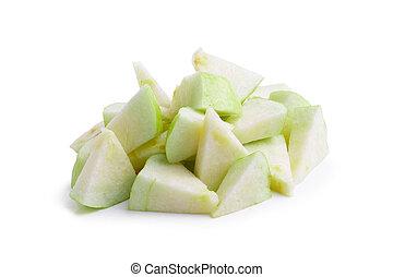 scheibe, aus, freigestellt, fruechte, hintergrund, weißes, guave
