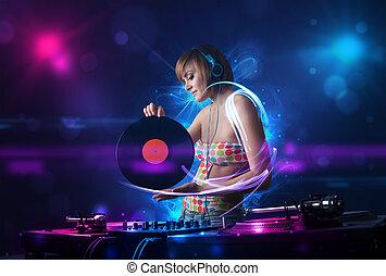 scheibe jockey, spielende musik, mit, elektro, licht,...