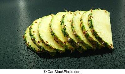 scheiben, von, frisch, ananas, in, reihe