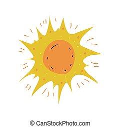 scheid illustratie, element, vector, ontwerp, zon, spotprent
