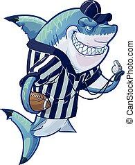 scheidsrechter, voetbal, betekenen, spotprent, haai