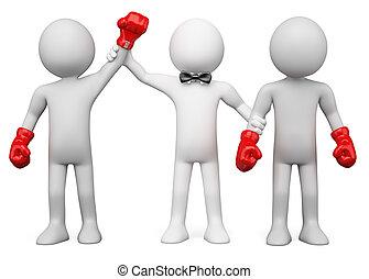 scheidsrechter, winnaar, twee, kies, tussen, 3d, boxing, ...