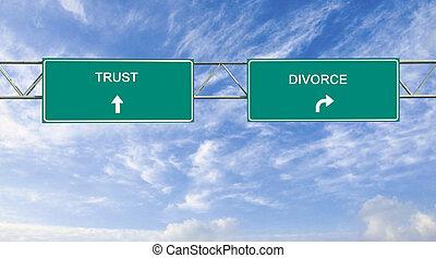 scheidung, vertrauen, straße unterzeichnet