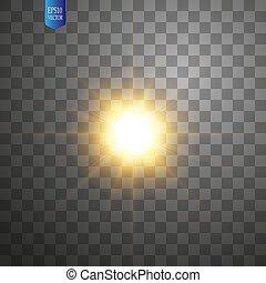 scheinen, flash., explosion, zentrieren, bersten, licht, star., flare., glühen, abbildung, effekt, dekoration, hintergrund., hell, vektor, ray., sonne, beschwingt, weißes, durchsichtig, lichtdurchlässig