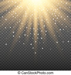 scheinen, glanz, gold, bersten, steigung, licht, glühen, abbildung, effekt, dekoration, lichter, hell, vektor, sparkles., hintergrund., leuchtsignal, explosion, texture., durchsichtig, strahl
