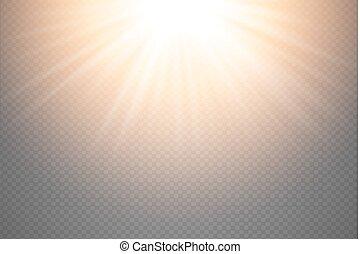 scheinen, goldenes, star., explosion, bersten, licht, oberseite, blitz, flare., glühen, abbildung, effekt, dekoration, hintergrund., hell, vektor, ray., sonne, beschwingt, durchsichtig, lichtdurchlässig