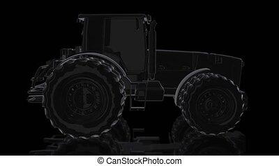 scheinen, grad, tractor., drehen, animation, schwarz, 4k,...