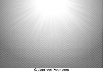 scheinen, star., explosion, bersten, licht, oberseite, blitz, flare., glühen, abbildung, effekt, dekoration, hintergrund., hell, vektor, ray., sonne, beschwingt, weißes, durchsichtig, lichtdurchlässig