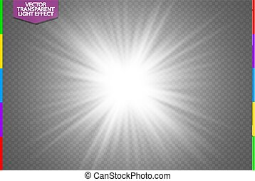 scheinen, star., explosion, zentrieren, bersten, licht, blitz, flare., glühen, abbildung, effekt, dekoration, hintergrund., hell, vektor, ray., sonne, beschwingt, weißes, durchsichtig, lichtdurchlässig