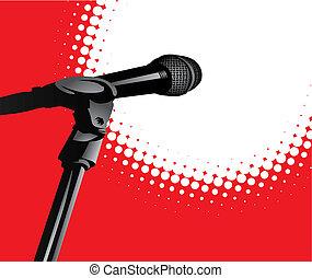 scheinwerfer, mikrophon, (vector)