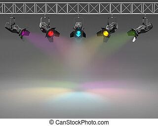 scheinwerfer, raum, text, wall., mehrfarbig, erleuchtet