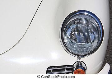 scheinwerfer, von, altes , jahrgangsauto, nahaufnahme