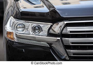 scheinwerfer, von, prestigious, auto, aufschließen