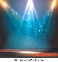 scheinwerfer, weisen, tanzen boden, vektor, hintergrund,...