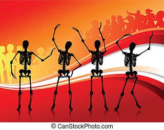 scheletri, fondo, astratto, rosso, partying