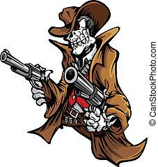 scheletro, cowboy, con, cranio, e, cappello