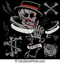 scheletro, cranio, nastri, mano, osso