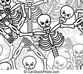 scheletro, cranio, ornamento, pattern., seamless, texture., ...