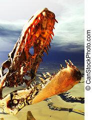 scheletro dinosauro, illustrazione, digitale