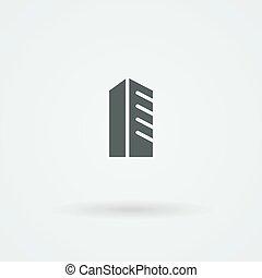 Schematic, minimalist icon skyscraper, high-rise urban building