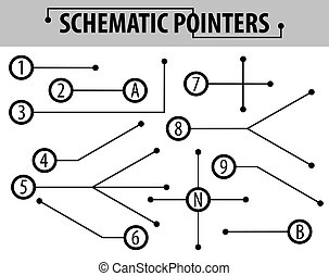 Schematic pointers. Extension lines to indicate the details...