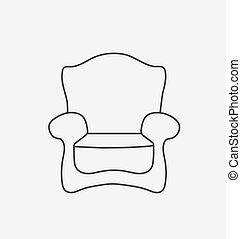 Schematically chair. Modern Flat style Vector Illustration.