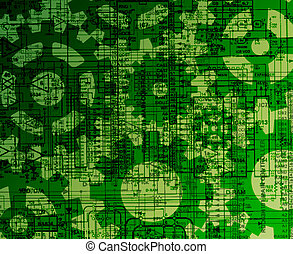 Schematics and cogs background