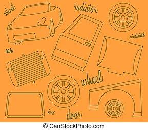 Auto, zubehörteil, gemälde, türen. Auto, abbildung,... Vektoren ...